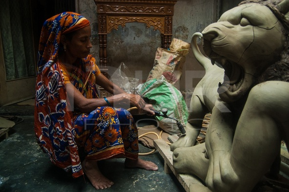 Preparation of Durga Puja at Old Dhaka, Bangladesh