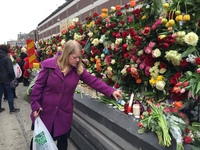 Flowers to victims of a truck attack in central Stockholm