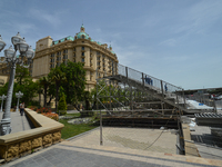 The preparation for the F1 competition in Baku