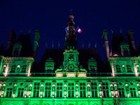 The Paris city hall in green to mark the disapprobation Trump's decision