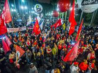 Brazilian trade unionists protest