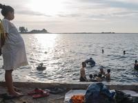 The last public beach in Jakarta, Indonesia