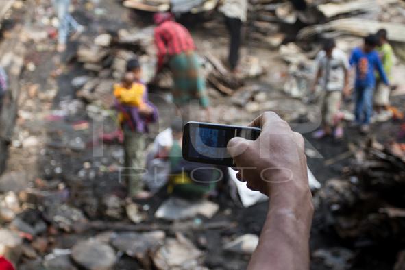 Remains of Poolpar Slum at Rayerbazar in Dhaka, Bangladesh.