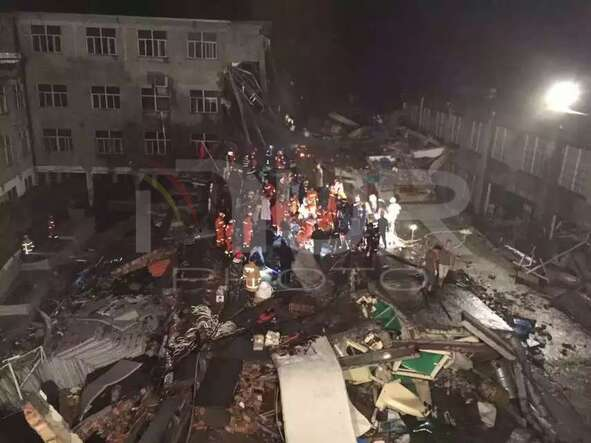 Collapsed factory building in Wenling, east China