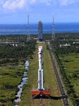 Long March-7 Carrier Rocket Is Transferred Vertically To The Launch Pad In Wenchang, China