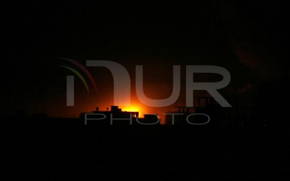 An Israeli missile hits an area in Rafah in Gaza Strip