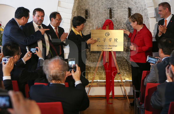 Angela Merkel Attends The Opening Ceremony Of The Confucius Istitute In Straslund, Germany