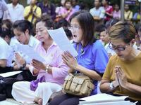 Thai Citizens Pray For The Health Of Thai King Bhumibol Adulyadej In Bangkok