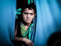 A displaced Palestinian at the al-Shifa hospital in Gaza