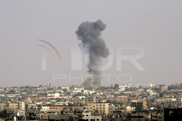 Smoke is seen after an Israeli air strike in Rafah