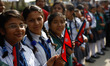 Students protest against the border blockade in Nepal